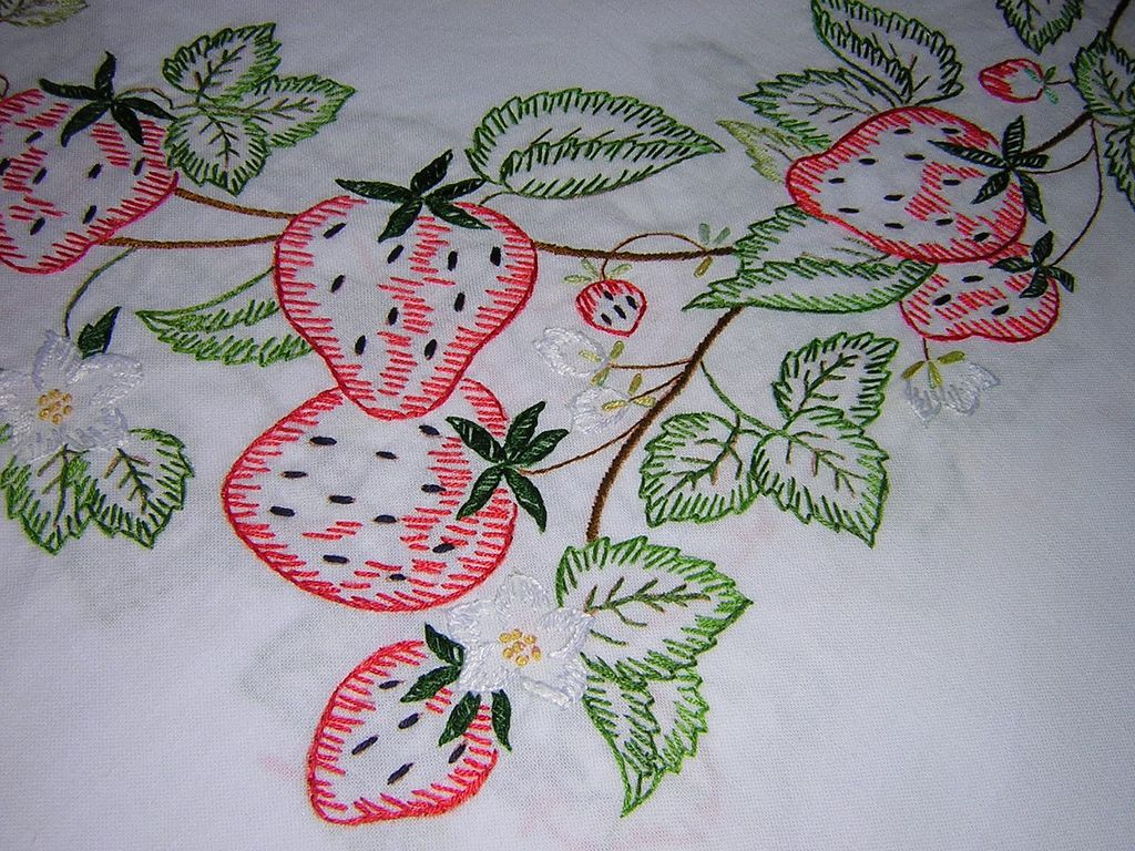 Hand Embroidered Strawberry Tablecloth From Looluus On