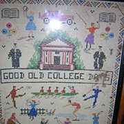 Good Old College Days Embroidered Sampler