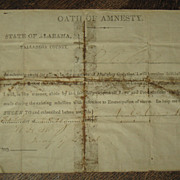 Civil War Oath Of Amnesty Document  Alabama Civil War