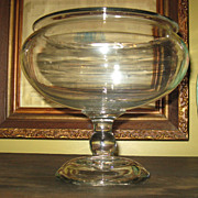 Pretty Antique Victorian Blown Glass Fish Bowl or Compote