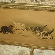 Framed Antique Helena Maguire Cats Kittens Print