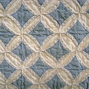 VINTAGE Splendor -- Handmade Cathedral Window Quilt, Blue & White, GORGEOUS