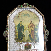 Antique Religious Lithograph JMJ Convex Glass Octagon Metal Frame Floral Design