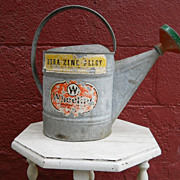 SOLD VINTAGE Galvanized Watering Can with Original Labels and Painted Spout So Shabby Dura Zin