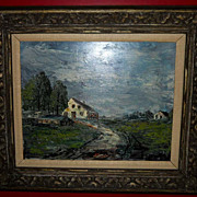 SOLD Framed Original Vintage Oil Painting Impressionist Countryscape GORGEOUS