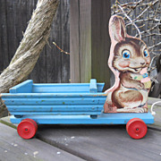 1950s Fisher Price Bunny Cart Pull Toy #406, NICE!