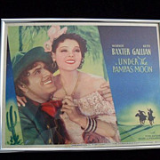 Framed Original Lobby Card, 1935, Under The Pampas Moon, Warner Baxter and Ketti Gallian, Lobb