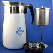 VINTAGE Corning Ware 9 Cup Stove Top Coffee Pot, Percolator NICE Condition!