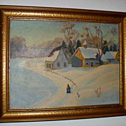 Oil on Board, Countryscape, Signed, 1931, Folk Art