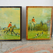 VINTAGE Set of 2 Fox and Hound Fox Hunt, English Riding, 1940s