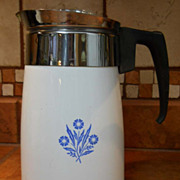VINTAGE Corning Ware 6 Cup Stove Top Percolator, NICE, Cornflower Blue, Coffee Pot