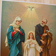 Old Beautiful Lithograph, The Holy Family, Printed in Switzerland