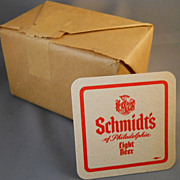 VINTAGE Unopened Package of 100 Schmidt's Beer Coasters, Drink Coasters, 1970s