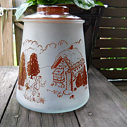 VINTAGE Cookie Jar, Frosted Glass, 1950s Signed Pokee