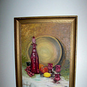 Framed And Signed Oil Still Life on Board Circa 1960's
