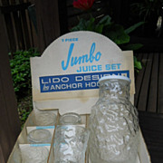 VINTAGE 7 Piece Jumbo Juice Set, Lido Design by Anchor Hocking, In Original Box, IOB