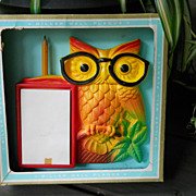 Vintage NIB1960s Miller Studio, Chalkware Owl Plaque in Original Box, New/Old Stock, NOS