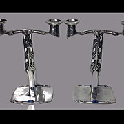 Archibald Knox Liberty Pewter and Enamel Candelabra, English C. 1902-1905