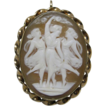 Three Graces Gold Filled Dainty Shell Cameo Brooch/Pendant