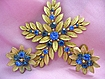 Vintage SET Signed Lisner Dainty Shades of Blue Flower Brooch & Earrings