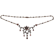 SALE Beautiful Ornate Victorian Bohemian Garnet Necklace