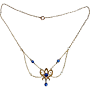 SALE Art Nouveau Blue Stones n Pearls Goldtone Festoon Necklace