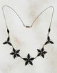 Reversible Vintage Brass n Copper Rhinestone Black Flower Necklace