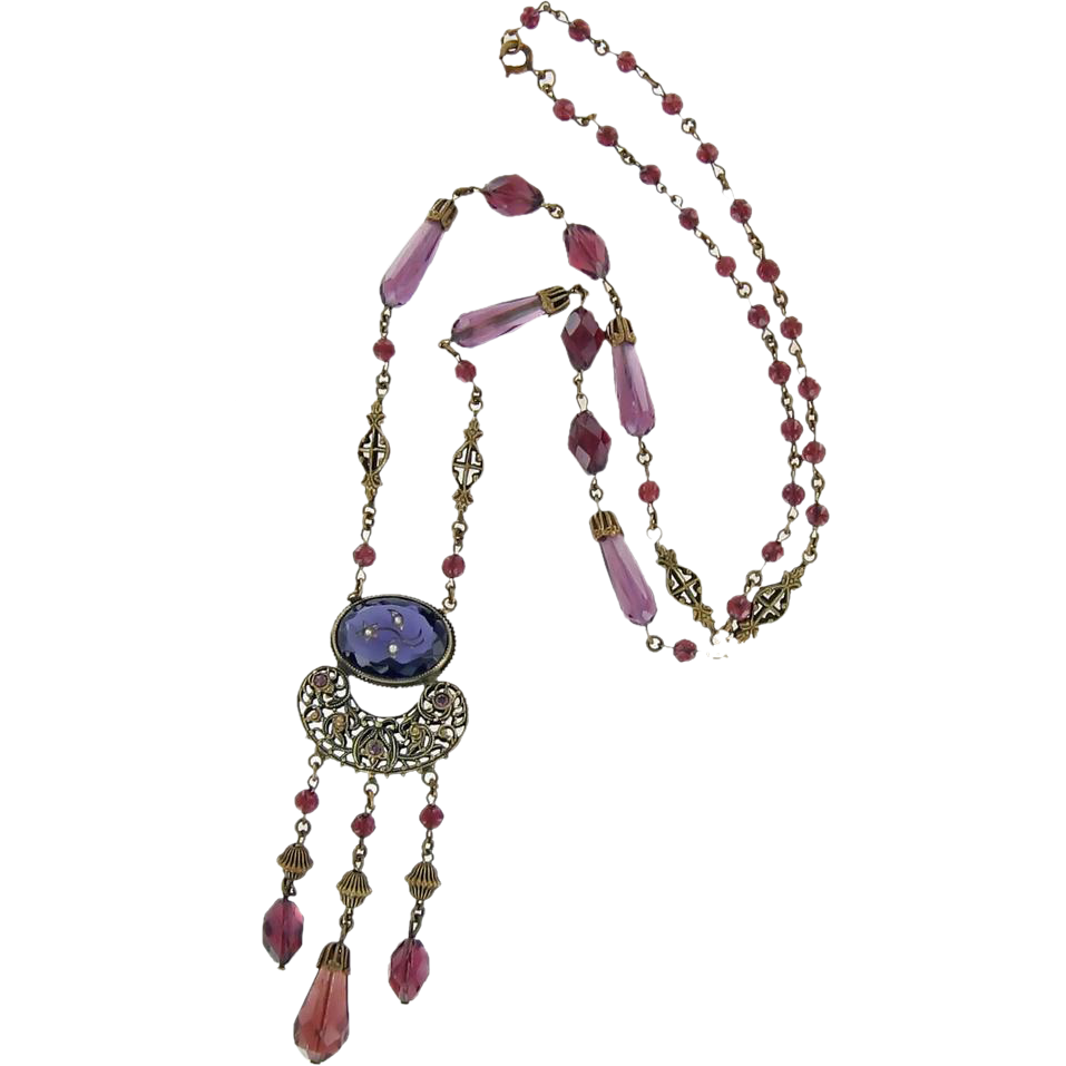 Beautiful Rare Victorian Purple Long Faceted Glass Beads Necklace