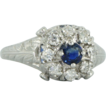 Gorgeous Edwardian Diamond & Sapphire 20kt White Gold Ring