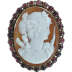 Beautiful 14kt Yellow Gold and Garnets Carved Cameo Pin-Pendent