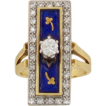 Huge Estate 14kt yellow/White Gold Diamond and Blue Enamel Ring