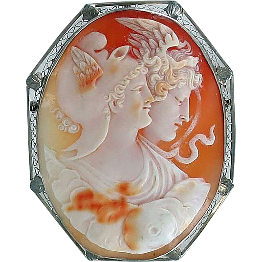 Edwardian 14kt White Gold Medusa Cameo Pin/Brooch