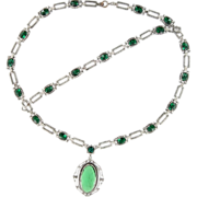 SALE Art Deco Emerald Green Necklace Set