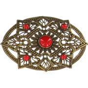 Victorian Red Stones Sash Pin