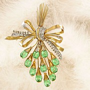 Huge Goldtone 1940's Rhinestones Bouquet Pin