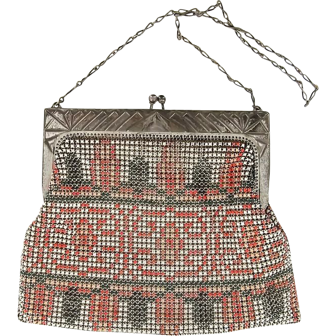 Art Deco Enamel Mesh Bag