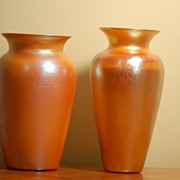 Two Signed Quezal & Durand Favrile Aurene Glass Vases C:1925