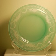 Steuben Jade glass copper wheel-engraved plate signed C:1930