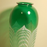 "C:1930 Durand Glass pulled-feather vase 10"" Quezal era"