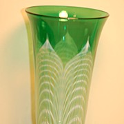 C:1930 Durand Pulled-feather Glass vase Quezal era