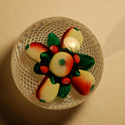 C:1849 Rare Antique New England Glass Paperweight 'Fruit on Latticinio'