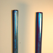 Pair Tiffany Studios Blue Favrile glass vases on bronze stands C:1920