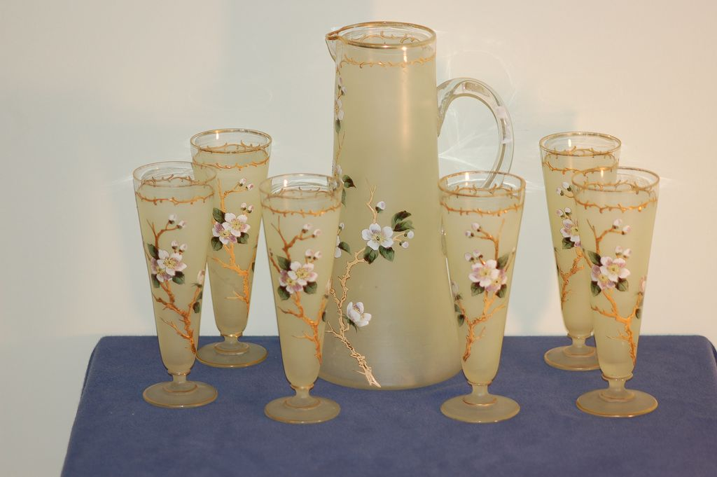 Carl Hosch hand-painted 7-piece Bohemian glass set Moser era