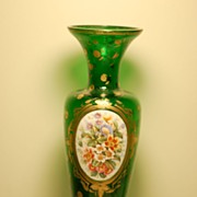 C:1885 Hand-painted Bohemian Moser Glass Vase with medallion