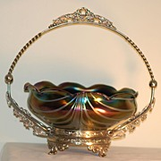 C:1900 Loetz era Iridescent glass Bride's Bowl on standby Rindskopf