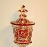 C:1870 Karl Pfohl Exceptional Antique Bohemian Ruby Glass pokal Moser Baccarat quality