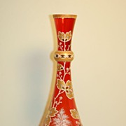 C:1900 Bohemian Moser glass vase coralene 10 inches / 25 cm-tall