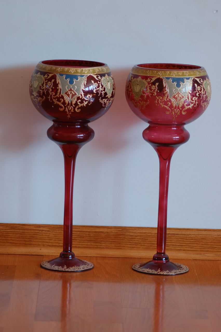 "C;1900 Pair Moser Monumental 20"" / 51 cm-tall Bohemian cameo-etched glass vases"