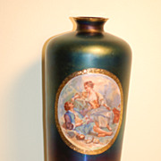 C:1900 Rare artist-signed hand-painted Thomas Webb 'Bronze Glass' vase