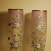 C:1900 pair HP French Mont Joye Tall glass vases